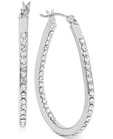 Touch of Silver Small Oval Crystal Hoop Earrings in Silver-Plated Brass