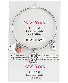 Unwritten New York Girl Charm and Cherry Quartz (8mm) Bangle Bracelet in Stainless Steel