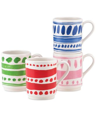 kate spade new york all in good taste Set of 4 Illustrated Stacking Mugs, Only at Macy's