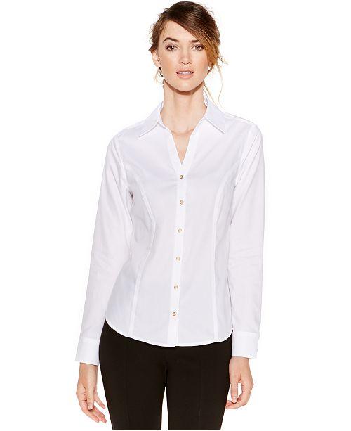 37ce22e5 Calvin Klein Non-Iron Button-Down Top & Reviews - Tops - Women ...