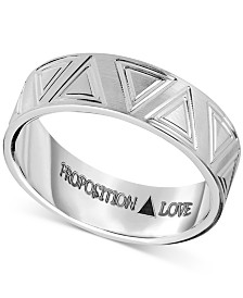 Proposition Love Unisex Triangle-Accent Wedding Band in 14k White Gold