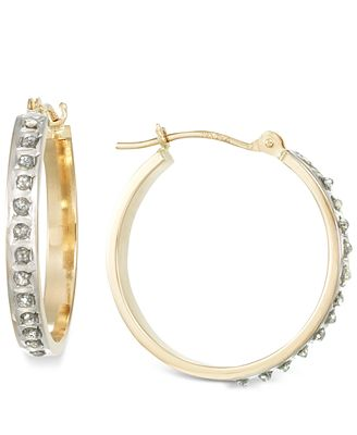 Diamond Accent Small Hoop Earrings in 14k White, Yellow, or Rose Gold