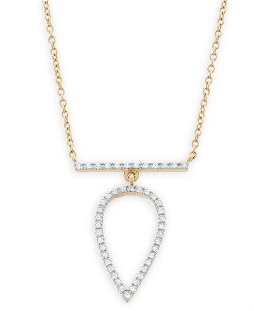 Macy's Diamond Pear Pendant Necklace in 14k Gold (1/7 ct. t.w.)