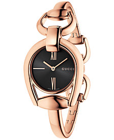 Gucci Women's Swiss Horsebit Rose Gold-Tone PVD Bangle Bracelet Watch 28mm YA139507