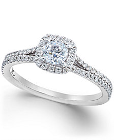 X3 Certified Diamond Halo Engagement Ring in 18k White Gold (3/4 ct. t.w.), Created for Macy's