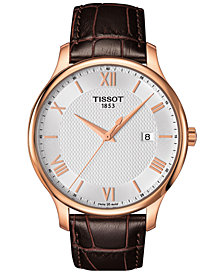 Tissot Men's Swiss Tradition Brown Leather Strap Watch 42mm T0636103603800