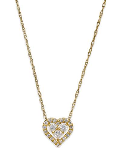 Cubic Zirconia Heart Pendant Necklace in 10k Gold
