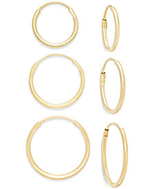 Polished Hoop Earring Set in 10k Gold