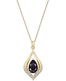 Onyx (1-1/10 ct. t.w.) and Diamond Accent Pendant Necklace in 14k Gold