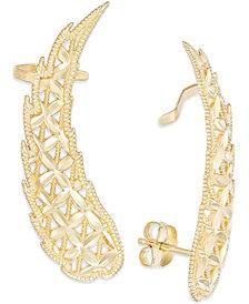 Cutout Angel Wing Crawler Earrings in 14k Gold, 1 1/2 inch