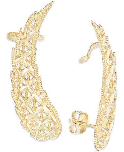 Cutout Angel Wing Crawler Earrings in 14k Gold