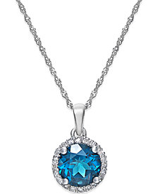 London Blue Topaz (1-1/2 ct. t.w.) and Diamond Accent Pendant Necklace in 14k White Gold