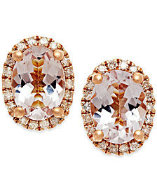 Morganite (1-1/3 ct. t.w.) and Diamond (1/6 ct. t.w.) Stud Earrings in 14k Rose Gold