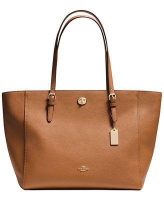 coach turnlock tote in crossgrain leather handbags