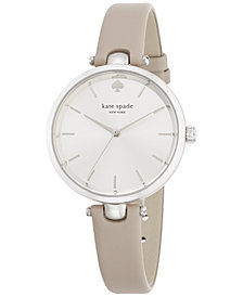 kate spade new york Women's Holland Gray Leather Strap Watch 34mm 1YRU0813