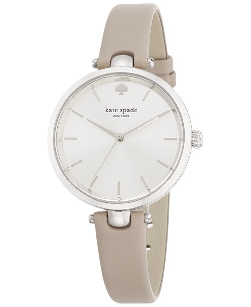 e4a54deb0350 ... kate spade new york Women s Holland Gray Leather Strap Watch 34mm  1YRU0813 ...