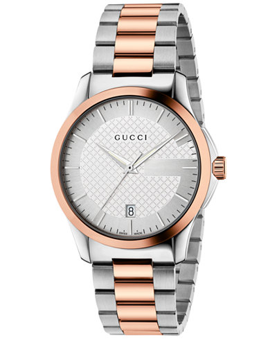 Gucci Unisex Swiss G-Timeless Rose Gold-Tone PVD and Stainless Steel Bracelet Watch 38mm YA126447