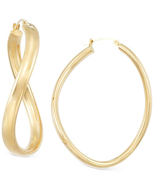 Italian Gold Signature Gold™ Figure-Eight Hoop Earrings in 14k Gold over Resin