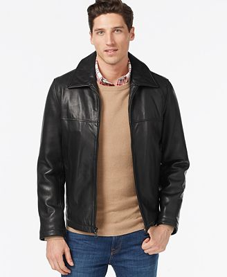 Tommy Hilfiger Leather Classic Jacket - Coats & Jackets - Men - Macy's