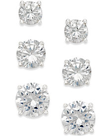 Giani Bernini Cubic Zirconia Stud Earring Set in 18k Gold over Sterling Silver or Sterling Silver, Created for Macy's