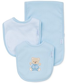 Baby Boys 3-Piece Cute Bear Bib & Burp Cloth Set