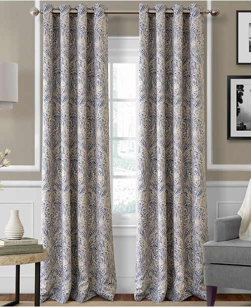 "Elrene CLOSEOUT! Julianne Paisley 52"" x 84"" Blackout Curtain Panel"
