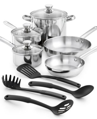 Tools of the Trade Stainless Steel 12-Pc. Cookware Set, Created ...