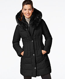 Larry Levine Faux-Fur-Trim Quilted Down Coat