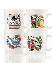 Fiesta Twelve Days of Christmas Set of 4 Mugs, First series in a series of Three