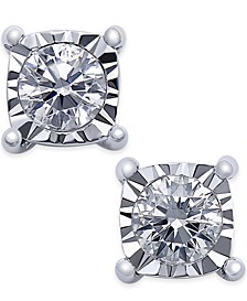 Square Diamond Stud Earrings (1/4 ct. t.w.) in 14k White Gold