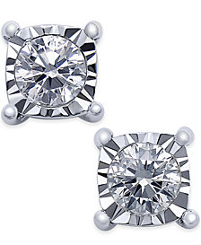 TruMiracle® Square Diamond Stud Earrings (1/4 ct. t.w.) in 14k White Gold