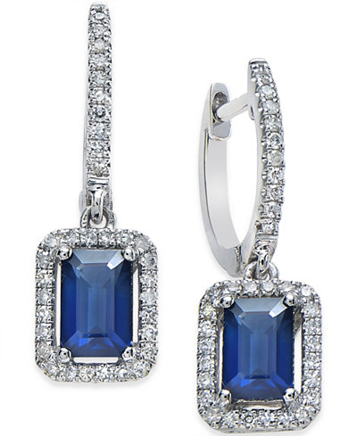 Sapphire (1-1/4 ct. t.w.) and Diamond (1/4 ct. t.w.) Earrings in 14k White Gold