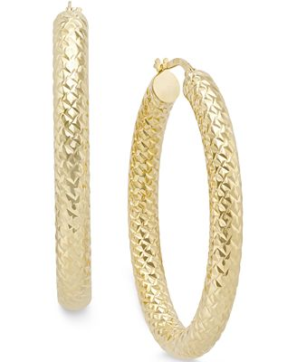 Italian Gold Diamond Cut Hoop Earrings in 14k Gold