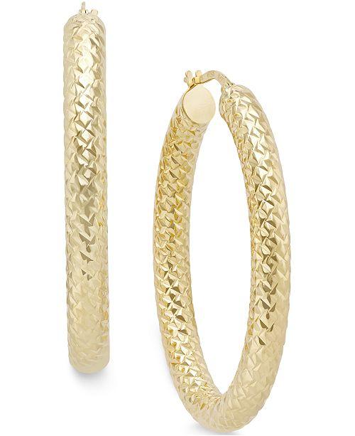 Italian Gold Diamond Cut Large Hoop Earrings in 14k Gold
