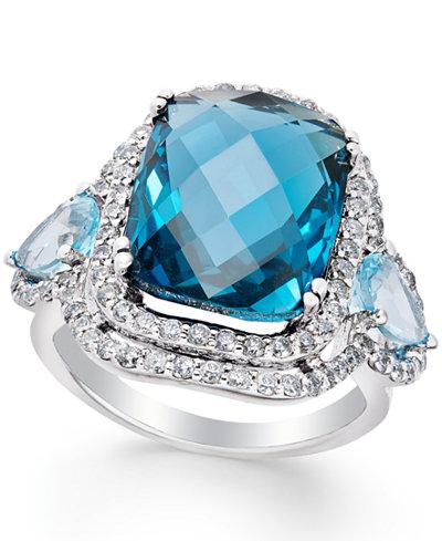 Blue Topaz (13 ct. t.w.) and Diamond (1-1/10 ct. t.w.) Ring in 14k White Gold