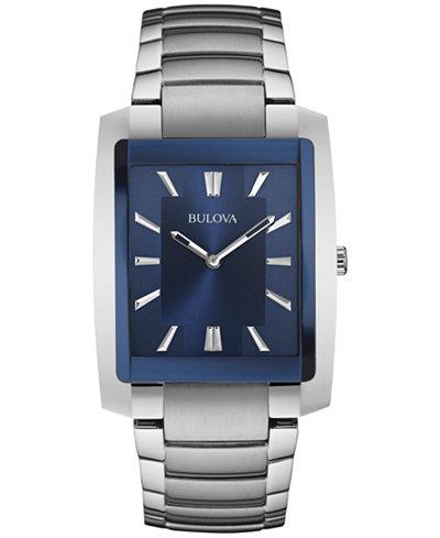Bulova Men's Stainless Steel Bracelet Watch 45x35mm 96A169