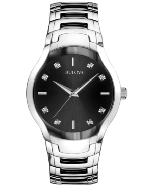 Bulova Men's Diamond Accent Stainless Steel Bracelet Watch 39mm 96D117