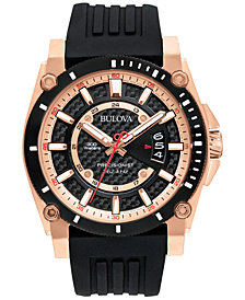 Bulova Men's Precisionist Black Silicone Strap Watch 47mm 98B152