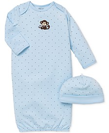 Baby Boys Monkey Hat & Gown Set