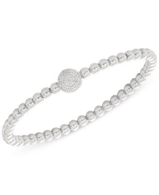 Diamond Cluster Circle Bead Stretch Bracelet (1/6 ct. t.w.) in Sterling Silver, Created for Macy's