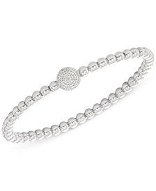 wrapped™ Diamond Cluster Circle Bead Stretch Bracelet (1/6 ct. t.w.) in Sterling Silver, Created for Macy's