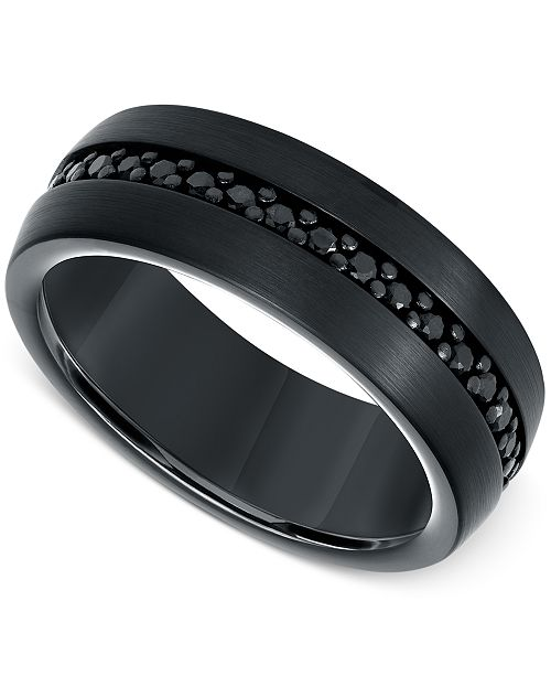 Triton Men's Sapphire 8mm Band (9/10 ct. t.w.) in Black Tungsten Carbide