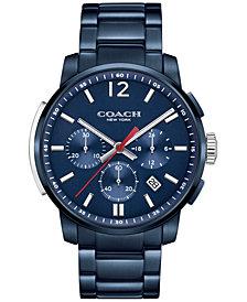 COACH MEN'S BLEECKER CHRONO BLUE ION-PLATED BRACELET WATCH 42MM 14602012, MACY'S EXCLUSIVE
