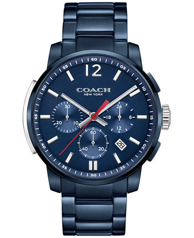 COACH MEN'S BLEECKER CHRONO BLUE ION-PLATED BRACELET WATCH 42MM 14602012, MACY'S EXCLUSIVE