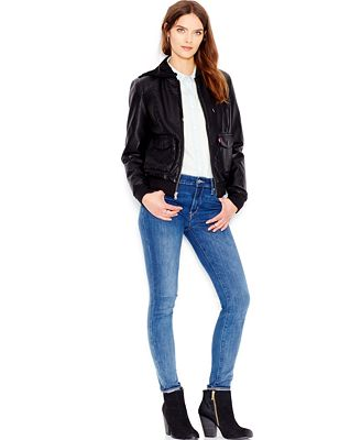 Levi's® Hooded Faux-Leather Bomber Jacket - Coats - Women - Macy's