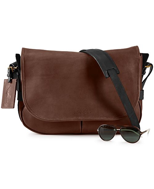 Polo Ralph Lauren Two-Toned Leather Messenger Bag   Reviews - All ... 40d414b4f8239