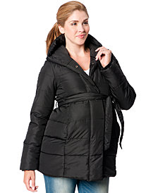 Motherhood Maternity Hooded Belted Puffer Coat