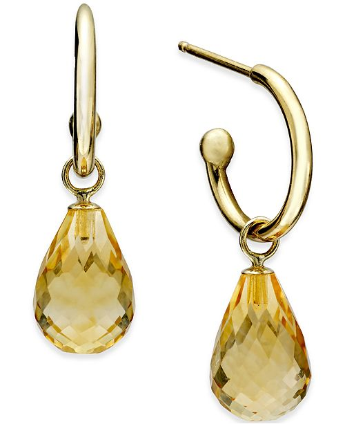 Macy's Citrine Hoop Earrings (6-1/2 ct. t.w.) in 14k Gold