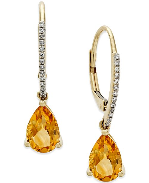 Macy's Citrine (2 ct. t.w.) and Diamond Accent Drop Earrings in 14k Gold