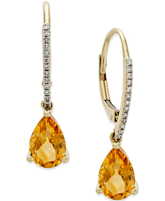 Macy's - Citrine (2 ct. t.w.) and Diamond Accent Drop Earrings in 14k Gold